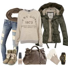"""Comfy winter day"" by pale on Polyvore  LOVE everything in this-- jacket and sweatshirt especially <3 <3"