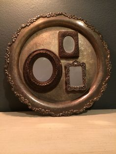 Repurposed Wall Art - Antique Silver Tray & Mirrors - Steampunk Vintage on Etsy, $75.00
