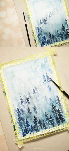 Learn how to create a winter watercolor landscape from this super easy to follow but detailed tutorial. Click to learn more - Inkstruck Studio #watercolorarts #LandscapeDrawing