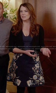 Lorelai's navy embroidered a-line dress on Gilmore Girls: A Year in the Life.  Outfit Details: https://wornontv.net/62647/ #GilmoreGirls