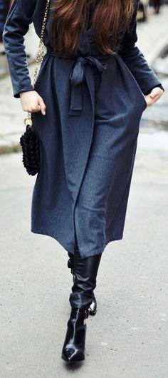 J.r. Wodzinska Dark Grey Women's Hooded Long Line Coat by Jestem Kasia