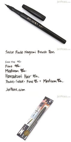 This brush pen was designed by Sailor under the supervision of popular Japanese calligrapher Ryofuka to be both stylish and comfortable to use! Calligraphy Supplies, Beautiful Handwriting, Jet Pens, Pretty Packaging, Penmanship, Brush Pen, Art Supplies, Sailor, Stationary