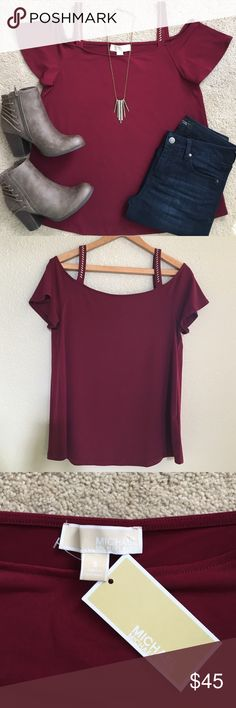 NWT Michael Kors Cold Shoulder Brand new!  MOVING IN ONE MONTH!!! All ⚡️LAST CHANCE⚡️ and FREE items will be donated in April if not sold.   I ship everyday except Sunday. Michael Kors Tops Blouses