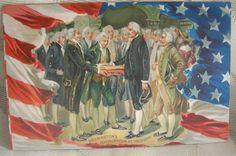 Vintage Antique Presidents Day Postcard - Washington's Inaugurationvia Etsy.
