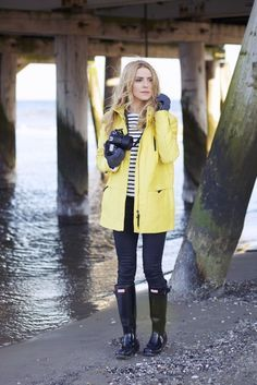 d331c574aca2 Spring Fall Style - yellow Zara rain coat, striped top, black jeans and  glossy black Hunter boots