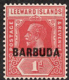 Barbuda 1922 Scott 2 1p rose red, overprinted  On stamps of Leeward Islands 1912-22