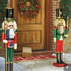 Home Decor Ideas: Giant nutcrackers on each side of the front door
