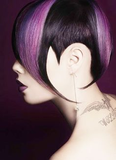 The curves and angles of this cut are brought to life with color. Vive la violet! Artist: Mana Dave, Auckland NZ, who was a national finalist for Wella Professionals Trend Vision 2012. Muse: Blaze