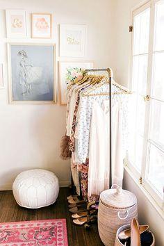feminine clothing rack with leather floor pouf / @sfgirlbybay
