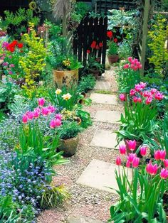 Spring flower garden & backyard path ideas