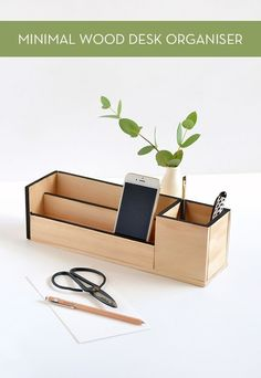 A DIY minimal wood desk organizer.