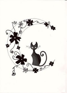 Cat on Floral Moon tattoo