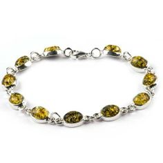 Sterling Silver Green Amber Oval Cut Link Bracelet 7.5 Inches GRACIANA. $97.98. All amber jewelry designs are from Eastern Europe. Treated method