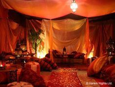 Beautiful Arabian tent hookah lounge. My guess, from many such examples, is that this is the kind of history the Red Tent grew out of, even though the Morrocan examples are Islamic, and the Red Tents were heavily influenced by Judaism.