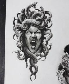 modify to be Medusa shield at the uffitzi Medusa Tattoo Design, Tattoo Designs, Medusa Art, Medusa Gorgon, Black Tattoos, Body Art Tattoos, Sleeve Tattoos, Tattoo Sketches, Tattoo Drawings