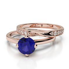 Gold / platinum round cut tanzanite and diamond bridal set ring Ruby Rose, Rose Gold, Gold Platinum, Bridal Sets, Black Diamond, Bracelet Watch, Emerald, Gold Rings, Sapphire