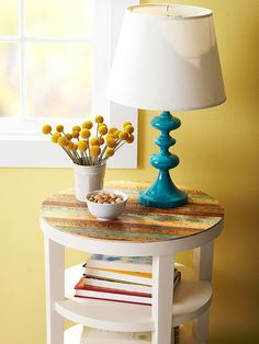 DIY old yardsticks on table top Table Topper