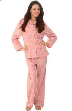 Del Rossa Women s 100% Cotton Flannel Pajama Set – Long Pjs (Pink with  Coffee cdc974334