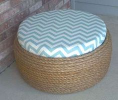 Shabby Chic Tire Ottoman or Coffee Table diy Tire Furniture, Furniture Decor, Recycled Furniture, Furniture Design, Sisal, Tire Seats, Tire Chairs, Tire Table, Tire Ottoman