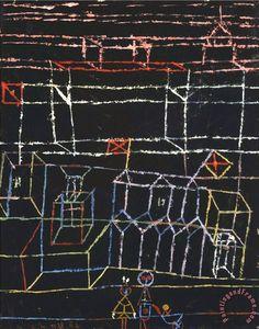 """Paul Klee 'Kinder Von Der Stad'(Children of the City) 1928 Oil on paper on the artist's mount 10.87 (h) x 8.66(w)"""""""