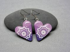 Purple heart earrings lavender earrings dangle hearts Lace Earrings, Heart Earrings, Dangle Earrings, Geometric Heart, Polymer Clay Jewelry, Beautiful Hands, Dog Tag Necklace, Great Gifts, Lavender
