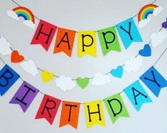 Happy birthday banner Items similar to Colorful Birthday Tags-Toppers on Etsy Birthday Tags, Unicorn Birthday Parties, Birthday Party Decorations, First Birthday Parties, First Birthdays, 4th Birthday, Diy Rainbow Party Decorations, Diy Rainbow Birthday Party, Diy Party Banner