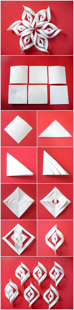Folded Paper Snowflake: Instruction: Start with six sheets in the form of a square. Follow the steps shown in the pictures. When you come to the joining of parts marked 2 and 4, be sure to turn snowflake and paste the opposite side of the sections 1 and 3. After making all six individual elements, stick to one another.
