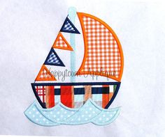 Sailboat Machine Embroidery Design by HappytownApplique on Etsy, $4.00