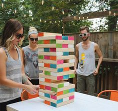 Make this giant Jenga set for summer entertaining. Backyard Games, Party Outdoor, Outdoor Games, Play Houses, Horseshoe Game, Giant Jenga, Jenga Game, Space Party, Fun Games