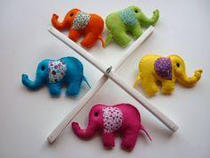 Rainbow Baby Elephants - Felt Nursery Mobile  (etsy) I should get this.. of course