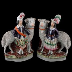 Pair of Staffordshire Pottery Figures