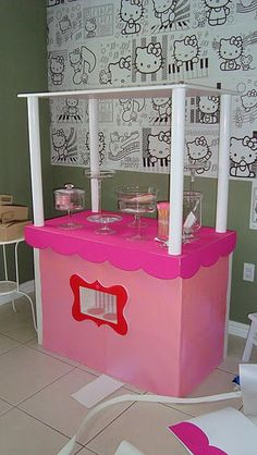 Hello Kitty Birthday Party: The Details - Paper Glitter Cat Party, Party Kit, Party Ideas, Diy For Kids, Crafts For Kids, Hello Kitty Birthday, Colorful Candy, Candy Shop, Candyland