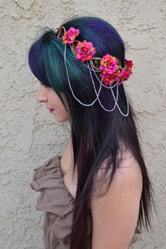 Beautiful flower crown with burgundy roses. Roses are attached to natural hemp wrapped wire. Wire is shaped into infinity symbols and is bendable for adjustment. Crown is decorated with chains of smal