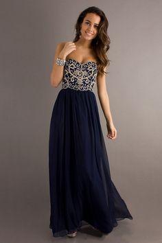 2014 Dark Navy Blue Prom Dresses Sweetheart Floor Length Chiffon St002