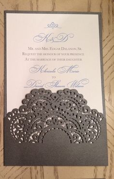 This listing is for laser cut pocket sleeve wedding invitation complete with romantic lace pattern detail. Ideal for an elegant wedding day.    The