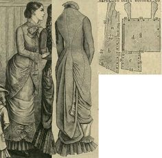 Tygodnik Mód 1880.: Draped overdress from blue beige fabric with Turkish patterned cotton or solid atlas trimmings.