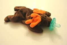 "Moose ""Chocolate"" Baby Beanie Buddy with Pacifier on Etsy, $15.00"