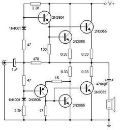 5 Watt Cl-A Audio Amplifier Circuit Circuit Diagram ...  Watt Amplifier Circuit Diagram on