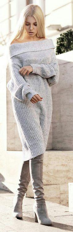Lana y botas, caliente y bien vestida a la vez.