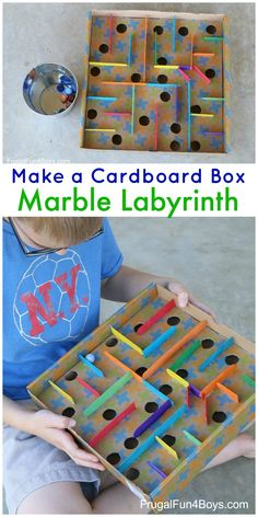 Engineering Activity for Kids - Build a Cardboard Box Marble Labyrinth Game