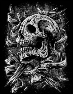 Chicano Lettering, Graffiti Lettering, Skull Artwork, Skull Painting, Dark Gothic Art, Dark Art, Aztecas Art, Skull Sleeve Tattoos, Badass Skulls