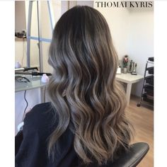Brown hair brunette waves ashy balayage ombre