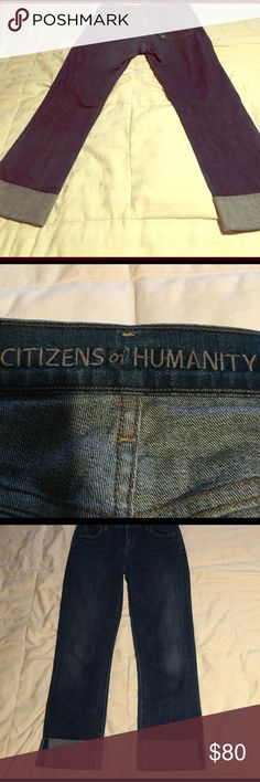 Citizens of Humanity Capri jeans Size 26, 90% cotton, 4% elastin  and 6% elsstomultrsyer. The bottoms do not unfold. In great condition and was gently wore just s couple of times. No holes , in excellent condition just like brand new! Citizens of Humanity Jeans Ankle & Cropped