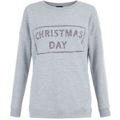 Grey Glitter Christmas Day Sweater ($12) ❤ liked on Polyvore featuring tops, sweaters, grey sweater, glitter tops, round neck sweater, gray sweater and long sleeve tops