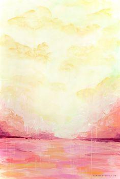 Abstract Painting - The Pink Lake 10x15, beach painting Parima Creative Studio