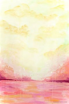 Abstract Painting - The Pink Lake 10x15, beach painting Parima Creative Studio