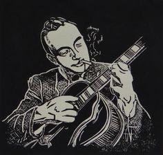 Linogravure de Django Reinhardt