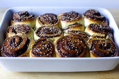 chocolate tahini challah buns