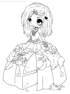 Goth Chibi on a Cake Lineart by *YamPuff on deviantART