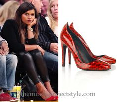 Mindy Kaling wore these bright patterned pumps with leather leggings and a blazer for her courtside appearance at the LA Lakers game at the weekend. /// Jerome C. Rousseau Aizza Leopard Pumps